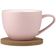 Ladelle Abode Pink Sand zestaw kubek i podkładka korkowa L62139