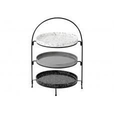 Ladelle Terazzo zestaw trzech talerzy do serwowania na stojaku L61851