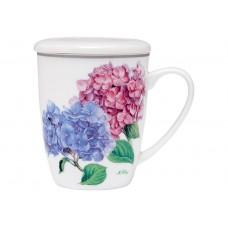 """Ashdene Kubek porcelanowy z zaparzaczem do herbaty 17181 """"pastelowe hortensje"""""""