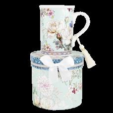 """Ashdene Kubek porcelanowy 16395 """"white rose blue"""""""