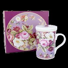 """Ashdene Kubek porcelanowy z ceramicznym zaparzaczem i przykrywką 16584 """"ciemna róża"""""""